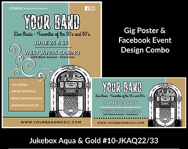 nostalgic teal and gold jukebox custom gig poster design and matching facebook event design for bands organzations and event planners to promote their event
