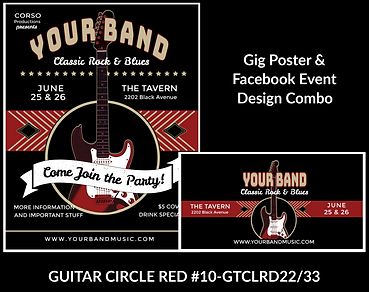 black and red guitar on cool custom gig poster design and matching facebook event design for bands organzations and event planners to promote their event