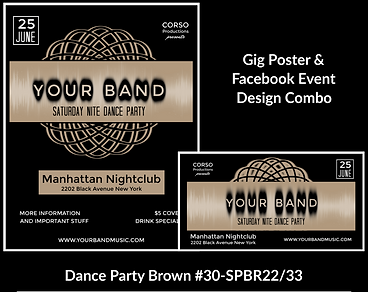 dance party style custom gig poster design and matching facebook event design for bands organzations and event planners to promote their event