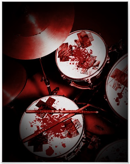 Edgy drum poster with bloody drum kit including snare drum hi hat toms bass drum and cymbal for punk drummers and metal drummers