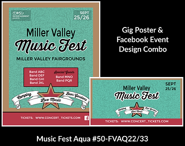 aqua and red music fest custom gig poster design and matching facebook event design for bands organzations and event planners to promote their event