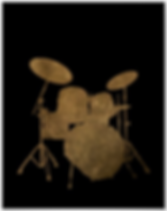 cool drummer poster with grungy drum kit silhouette including snare drum hi hat toms bass drum and cymbals