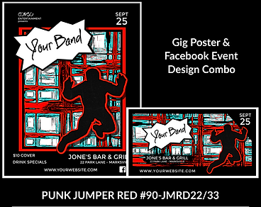 punk style red and black custom gig poster design and matching facebook event design for bands organzations and event planners to promote their event