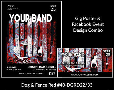 funky dog custom gig poster design and matching facebook event design for bands organzations and event planners to promote their event