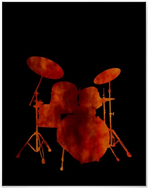 Drummer Poster Drum Kit Flame Silhouette