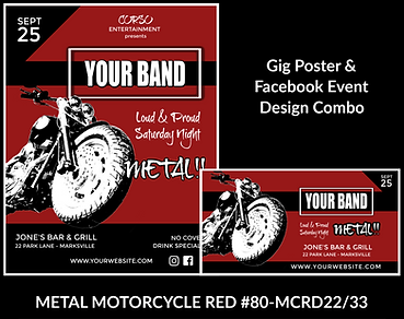 cool biker style red and black custom gig poster design and matching facebook event design for bands organzations and event planners to promote their event