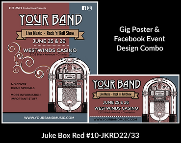 blue and red retro jukebox custom gig poster design and matching facebook event design for bands organzations and event planners to promote their event