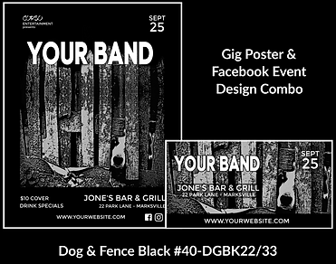cool black and gray dog on custom gig poster design and matching facebook event design for bands organzations and event planners to promote their event