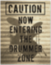 cool drummer poster with drum kit silhouette including snare drum hi hat toms bass drum and cymbals wih caption now entering the drummer zone