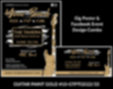 black and gold distressed guitar on custom gig poster design and matching facebook event design for bands organzations and event planners to promote their event