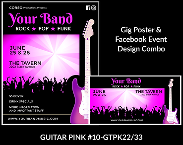 fun pink guitar and dancing crowd on this custom gig poster design and matching facebook event design for bands organzations and event planners to promote their event