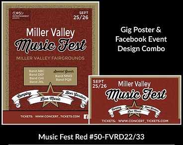 music fest style red and gold custom gig poster design and matching facebook event design for bands organzations and event planners to promote their event