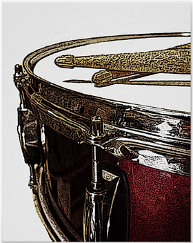 drummer poster with beautiful red snare drum and crossed drumsticks