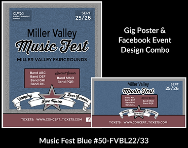 blue and red music fest custom gig poster design and matching facebook event design for bands organzations and event planners to promote their event