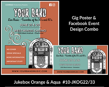 teal and black with jukebox custom gig poster design and matching facebook event design for bands organzations and event planners to promote their event