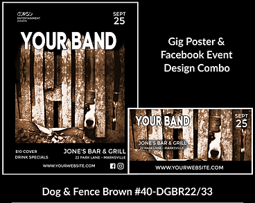 fun and funky dog on this custom gig poster design and matching facebook event design for bands organzations and event planners to promote their event