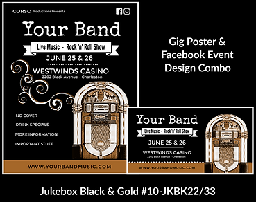 nostalic black and gold jukebox on custom gig poster design and matching facebook event design for bands organzations and event planners to promote their event