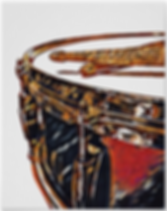 drummer poster with beautiful red and gold snare drum and crossed drumsticks