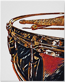 drummer poster with snare drum and drum sticks