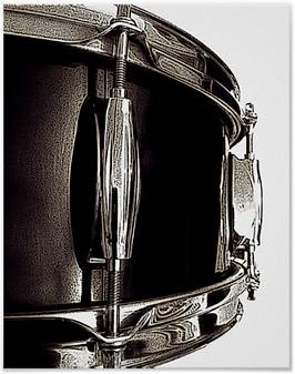 drummer poster with dark brown snare drum