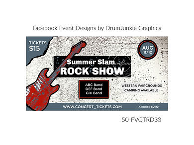 rock show red guitar on custom event design for bands organzations and event planners to promote their event
