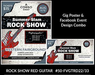 rock show blue and red guitar custom gig poster design and matching facebook event design for bands organzations and event planners to promote their event