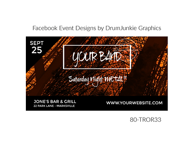 edgy orange and black custom event design for bands organzations and event planners to promote their event