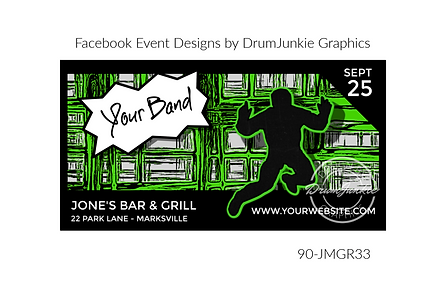 green punk style custom event design for bands organzations and event planners to promote their event