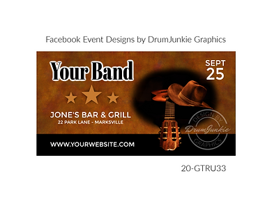 country style cowboy hat and guitar on custom event design for bands organzations and event planners to promote their event