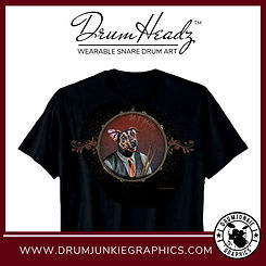 "Cool DrumHeadz drum shirt with ""Mutt"" the dog drummer with drumsticks on snare drum graphic"