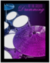 pink and purple drummer poster with snare drum bass drum toms and cymbals with caption hit the ground drumming