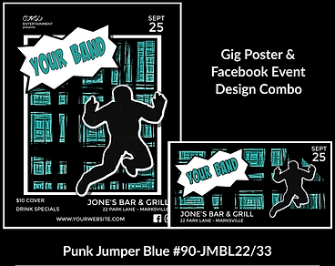 blue and black punk style custom gig poster design and matching facebook event design for bands organzations and event planners to promote their event