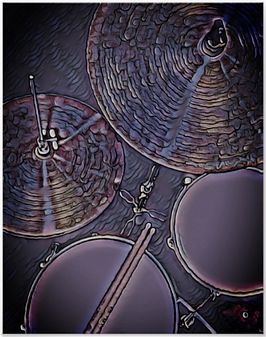 purple drummer poster with picture of drum kit including snre drum, hi hat, tom, cymbal and drumsticks