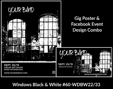 industrial style black and white custom gig poster design and matching facebook event design for bands organzations and event planners to promote their event