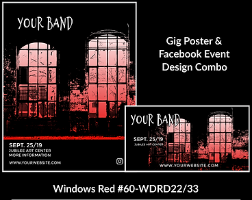 industrial looking red and black custom gig poster design and matching facebook event design for bands organzations and event planners to promote their event