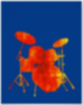 cool drummer poster with orange and yellow drum kit silhouette on blue background including snare drum hi hat toms bass drum and cymbals