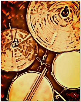 drummer poster with picture of drum kit including snre drum, hi hat, tom, cymbal and drumsticks
