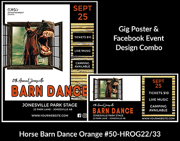 western style with horse custom gig poster design and matching facebook event design for bands organzations and event planners to promote their event