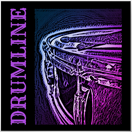 black and pink drummer poster with snare drum and crossed drumsticks and caption drumline for snareline and marching band drummers