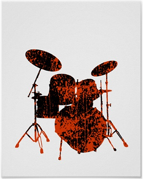 cool drummer poster withorange and black spattered drum kit silhouette including snare drum hi hat toms bass drum and cymbals