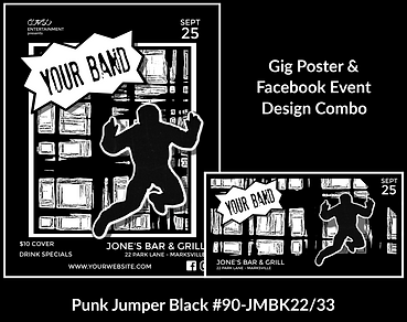 black and white punk style custom gig poster design and matching facebook event design for bands organzations and event planners to promote their event