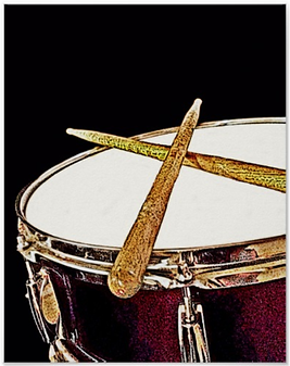 drummer poster with red snare drum and crossed drumsticks