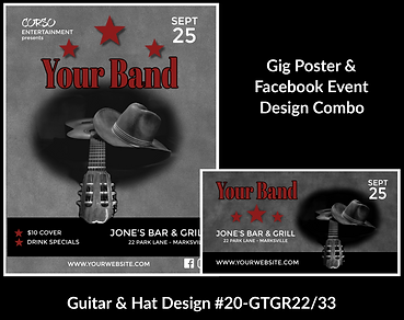 gray and black guitar and cowboy hat on custom gig poster design and matching facebook event design for bands organzations and event planners to promote their event
