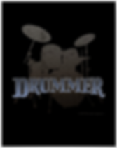 cool drumming poster with distressed drum kit silhouette including snare drum hi hat toms bass drum and cymbals with caption drummer
