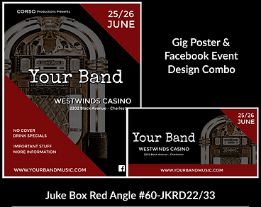 red and black retro jukebox custom gig poster design and matching facebook event design for bands organzations and event planners to promote their event