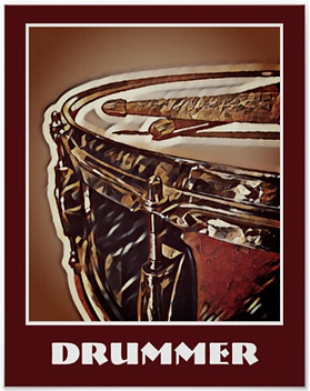 drummer poster with beautiful snare drum and crossed drumsticks with caption drummer