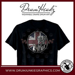 "Cool DrumHeadz drum shirt with ""Chops"" the English Bulldog dog drummer with drumsticks on snare drum graphic with Union Jack"