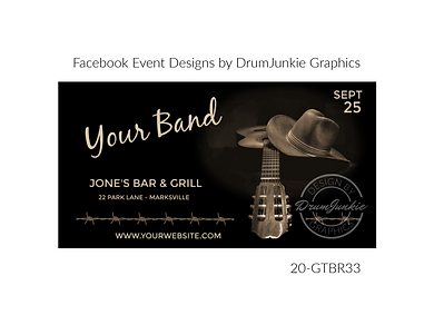 country cowboy hat and guitar on custom event design for bands organzations and event planners to promote their event