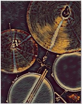 blue and gold drummer poster with picture of drum kit including snre drum, hi hat, tom, cymbal and drumsticks
