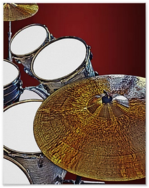cool drummer poster with drum kit incuding snare drum, tom toms and cymbal